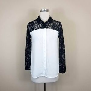Express Lace Sleeve Button Front Blouse S